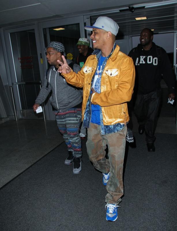 Rapper T.I. arriving at JFK